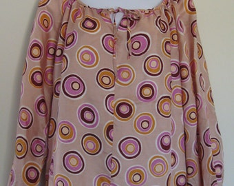NOS peasant blouse, 1970s vintage boho top, mod spots retro print, De Luxe festival fashion, USA, size small