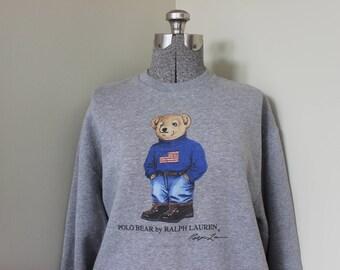 Polo Bär Ralph Lauren Unterschrift Sweatshirt amerikanische Flagge Jeans Wandern Stiefel Baumwolle grau Polo patriotischen Teddybär XL