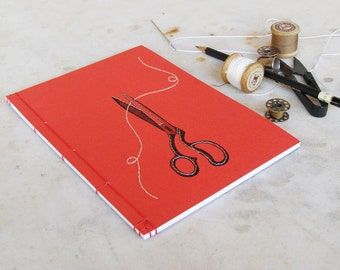 Scissors Journal. Embroidered A5 Notebook. Vintage Style. Scissors Notebook. Sew Journal. Embroidered Journal. Red Notebook. Gift for Her