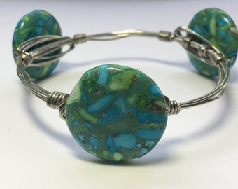 Turquoise patterned stone wire wrapped bracelet