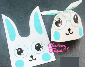 Nerdy Rabbit Bunny Bags // Cello Bags // Party Bags Set of 25bags CB30
