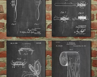 Bathroom Posters Group of 4, Bathroom Wall Decor, Bathroom Decor, Bathroom Signs, PP1180