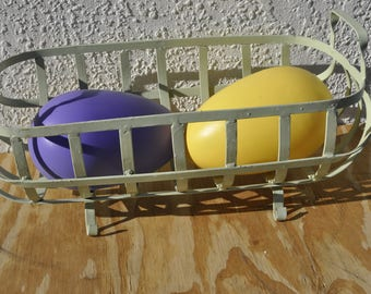 Two Vintage Large Easter Plastic Eggs