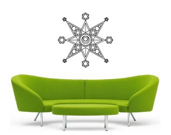 Metatron Star Vinyl Wall Decal | Mandala Sacred geometry, sticker art, rainbow Holographic