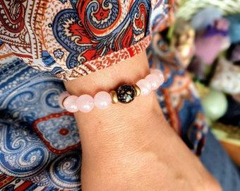 Rose quartz, Czech glass beads