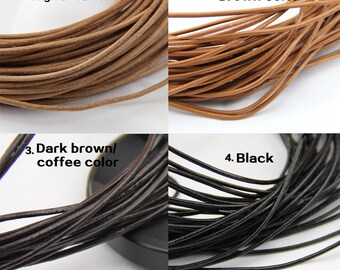 2mm leather cord,genuine leather string cord,original leather color,brown,dark brown,black color,1yard,2yard,5yard,10yard,round leather cord