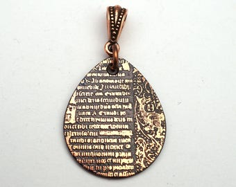 Copper medieval style pendant, flat etched copper teardrop, optional necklace, 29mm