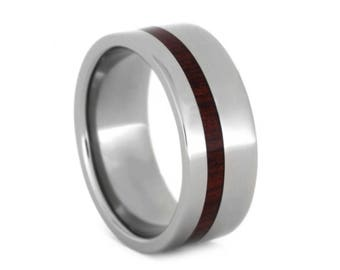 Wooden Wedding Band, Titanium Ring with Bloodwood Inlay, Ring Armor Included