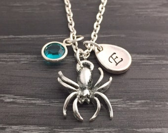 Personalized Spider Necklace with Initial and Birthstone, Halloween Jewelry, Letter E, Blue Zircon December Birthday Gift, Spider Lover Gift