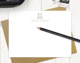 personalized note card set - JUST MY TYPE monogram - set of 12 flat notecards - stationery - stationary - business