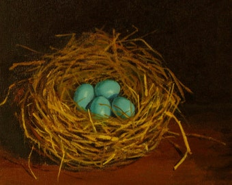 Robins egg nest original oil painting four blue eggs dark background original nest paintings originals