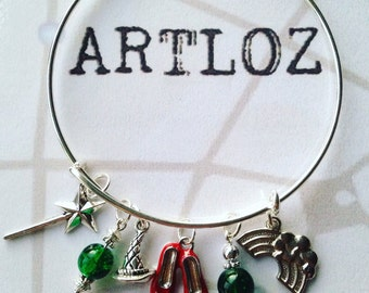 Wizard of Oz charm bracelet/bangle - adult or child sizes - ruby slippers, rainbow, wand