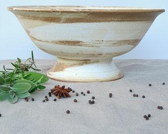 Footed Bowl, Large Pedestal Bowl, Pedestal Fruit Bowl, Pottery Salad Bowl, Handmade White Ceramic Bowl, Large Serving Bowl, Rustic Pottery