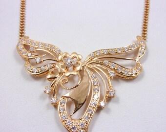 "Solid 18K Rose Gold Handmade Organic Floral Pendant 16"" Necklace, 12.2 grams"