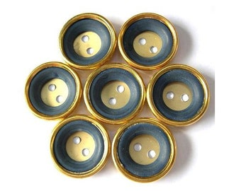 6 Vintage buttons gold color metal with blue plastic circle, 21mm