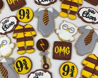 Baby potter shower cookies, Onesie cookies , rattle cookies, sugar cookies