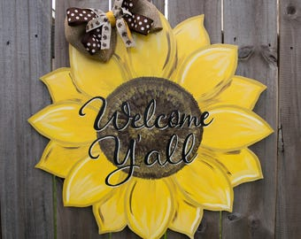 Free Shipping-Sunflower Sign, Spring Door Hanger, Spring Decor, Welcome Sign, Sunflower Decor, Sunflower Decorations, Sunflower Home Decor