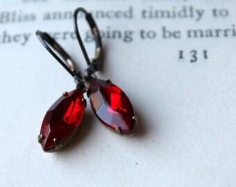 Ruby Red Vintage Earrings, Estate Style Earrings, July Birthstone, Valentine Red, Vintage Glass Earrings