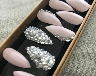 Matte Mist Full cover false nails Matt Stiletto Nails x20 +free application kit