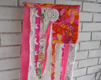 bohemian flag hippy flag gypsy flag boho decor  shabby decor rag flag wreath alternative prayer flag hand made colorful decor 12in x 21in