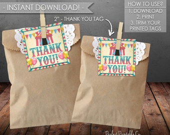 Carnival Thank You Tags, Carnival Favor Tags, Circus Thank You Tags, Circus Favor Tags, Birthday, Baby Shower, Instant Download #552