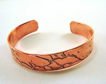 Copper Roll Printed Cuff, Copper Bracelet, Copper Textured Bracelet, Copper Cuff