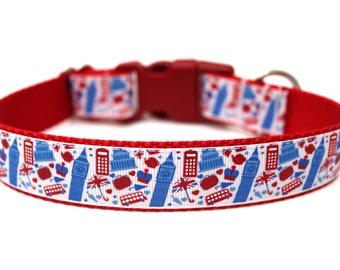 "London Dog Collar 1"" Size Small *Ready To Ship* Red Dog Collar"