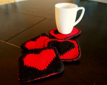 Valentines Day Heart Coasters Knit Set of 4 Bold Black and Red Hearts - Reversible Knitted Drink Coasters - Knit Mug Rugs
