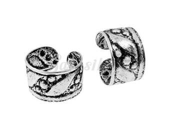 Sterling Silver Ear Cuff,Oxidized Ear Cuff,Dotted Design Ear Cuff