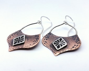 mixed metal jewelry | hammered copper earrings | boho jewelry | bohemian earrings | romantic jewelry | mixed metal earrings | long earrings