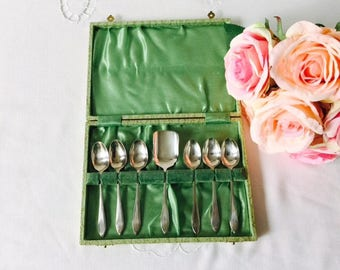 Set of 6 Teaspoons with Sugar Shovel, Boxed, EPNS, Made in England.
