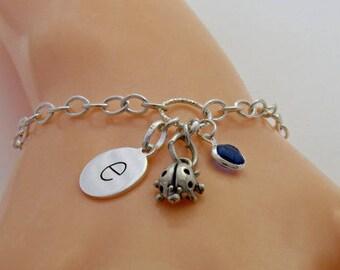Sterling Silver Ladybird Bracelet, Ladybird Charm Bracelet, ladybug Bracelet, Initial Charm Bracelet
