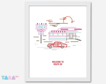 Route 66, Vintage 50's Dinner Printable Wall Art, Illustration Poster, Home Decor, Digital Print, Children Room Decoration, Instant Download