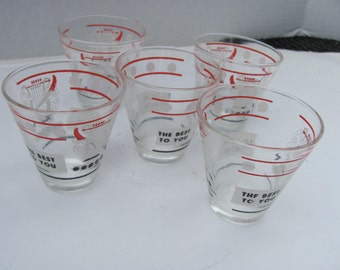 Mid Century Shot Glasses Set of Five