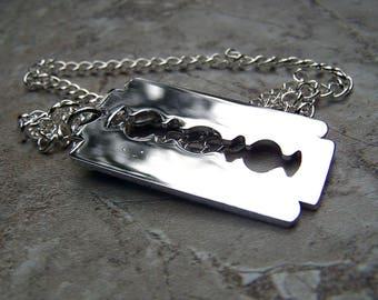 Razor Blade Necklace Mens Necklace Razor Blade Jewelry Unisex Necklace Gothic Goth Dimebag Darrell Pantera