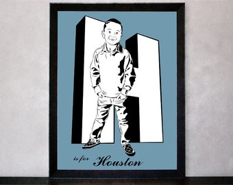 Custom Stencil Sketch Portrait with First Letter of Name in 3D - 8x10 Print