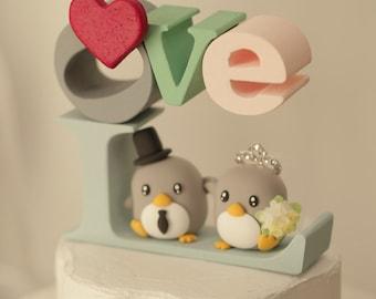 Penguins Wedding Cake Topper (K451)