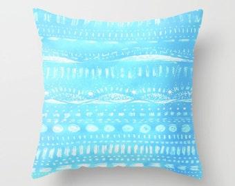 Light Blue Throw Pillow, light blue pillow, pastel blue pillow, blue throw pillow, blue white pillow