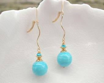 Turquoise Murano Glass Long Earrings