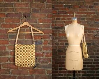 Vintage Wooded Beaded Purse 90s The Sak Bag in Blonde