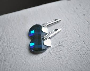 Cobalt Blue Earrings Swarovski Crystal Drop Heart Silver Letemendia Jewelry Circle Round