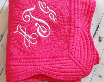 Hot Pink Baby Quilt - Personalized Baby Blanket - Baby Girl Nursery Decor - Baptism Gift - New Baby Gift -   - 36 x 46 Inches - Pink Quilt