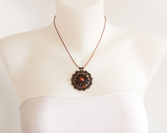 Necklace with Round Swarovski Crystal Sparkling Pendant in Black, Copper, Rose Gold Iridescent Colors, on Copper Leather Cord Necklace. S139