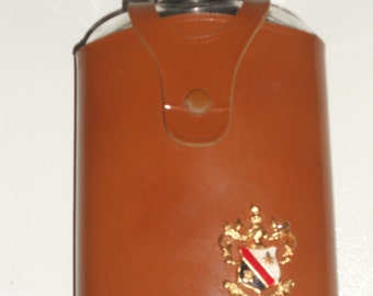 Vintage Shields Glass Alcohol Liquor Flask Leather Wrapped w/ Royal Crest