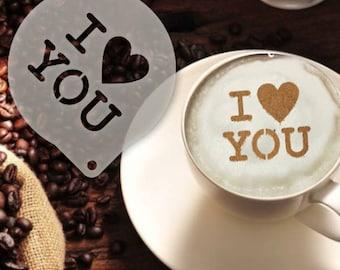 I Heart You Coffee Stencil