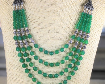 Green onyx necklace, multi strand necklace, beaded necklace, statement necklace, green necklace