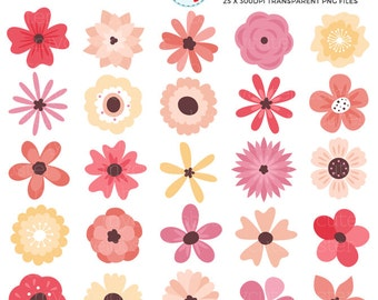 Flower graphics etsy individual flowers clipart set floral clip art flowers pink flower yellow flower mightylinksfo Image collections