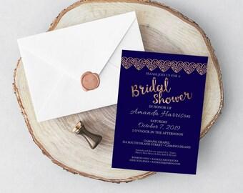 Bridal Shower Invitation / Navy & Wood / Rustic Hearts / Bridal Shower / Wedding Shower / Navy and Gray / Rustic