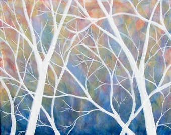 Spring Decorations-Spring Wall Art-Tree Painting-Branching Series -Spring- 16X20 Gallery Wrapped Original Painting-Home Decor