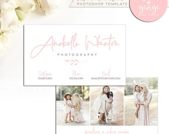 Photographer business card branding template, Photoshop required, marketing template, standard size, front photo back, Elsbeth George, EG013